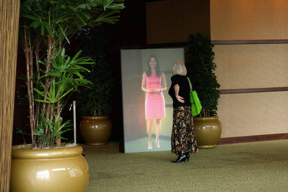 An event visitor examines the Video Monolith.
