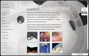screenshot of Health, Safety and Environment e-learning content
